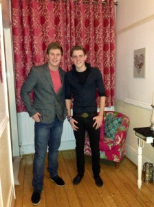 Uni students scrub up well. (son on left)