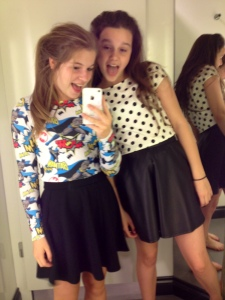 Fashion can be fun - trying on clothes in River Island. (daughter on left)