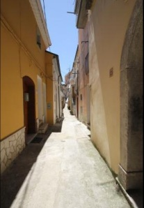 A street in Calitri. The Cave can only be accessed on foot or by a three wheel vehicle.