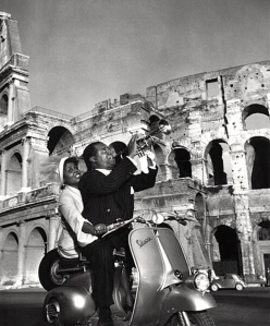 Louis Armstrong with his wife in Rome - 1949. Photo by Slim Aaron's.