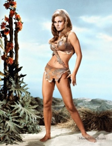 1966 ~ Raquel Welch wearing the deer skin bikini in the film, One Million Years BC.