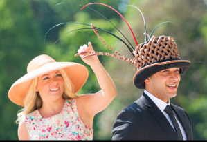 The gentleman wears a hat made of peperami sausages ... Image courtesy of The Daily Telegraph